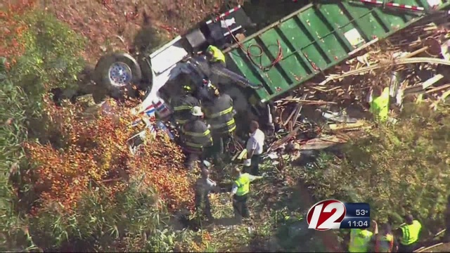 Driver injured in 18-wheeler rollover in Peabody
