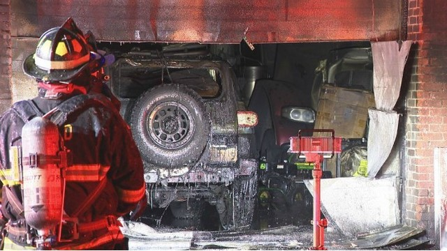 Ruptured oil tank creates dangerous situation for firefighters