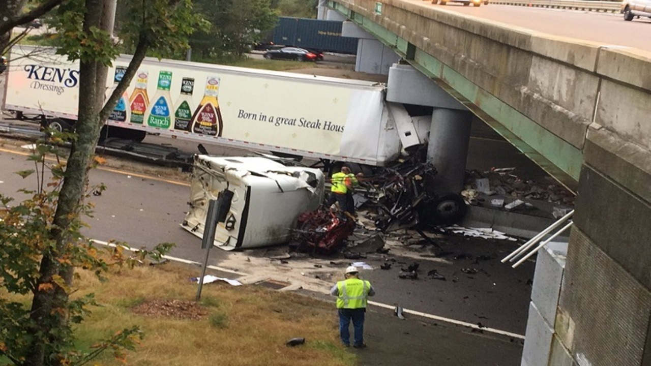 Traffic mess in Mansfield after truck strikes bridge abutment