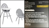 High chairs recalled due to risk of fall, injury