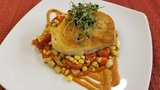 In the Kitchen: Seared Atlantic Sea Bass with a sweet Corn Succotash and Romesco Sauce