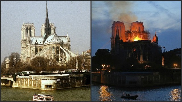 Notre Dame fire before and during