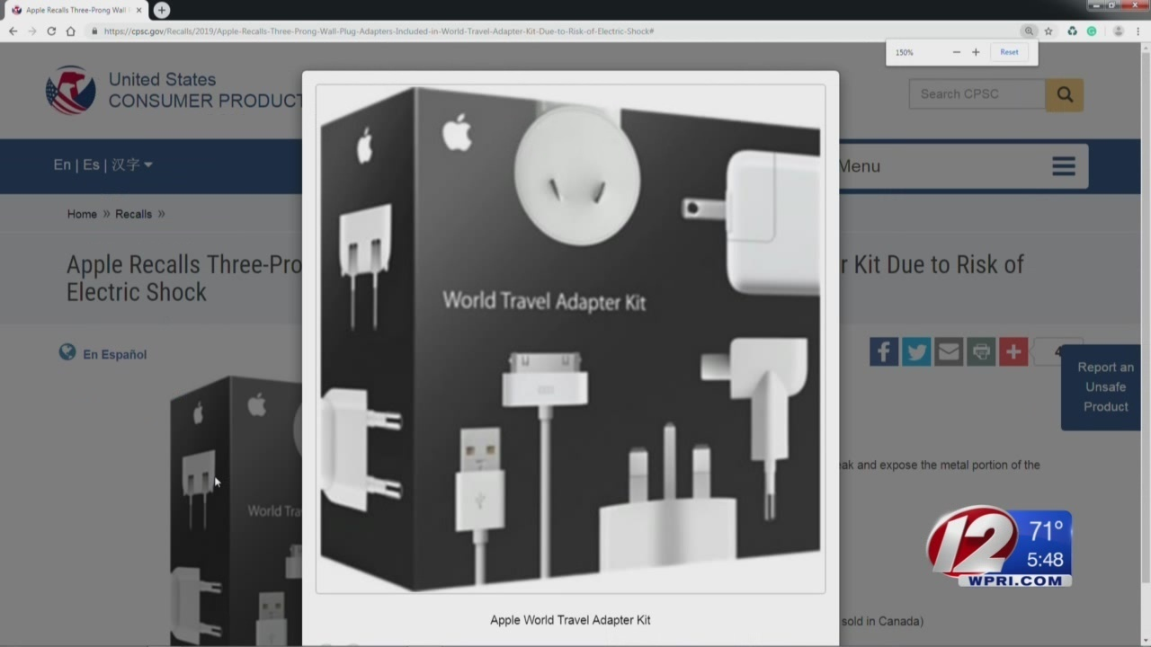 Apple recalls adapters that pose electric shock risk